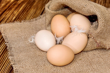 Chicken eggs in bag from burlap