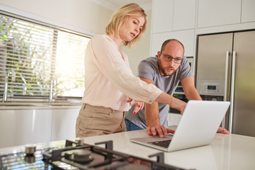 Mature couple working together on a laptop at home