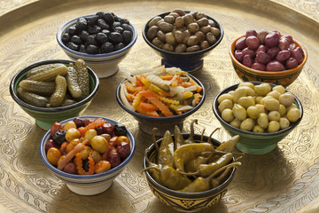 Moroccan variety of pickled olives and vegetables