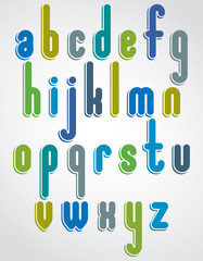 Rounded cartoon colorful lowercase letters with white outline