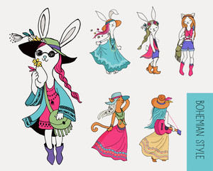 Bohemian fashion girls , bunny and cats, boho style