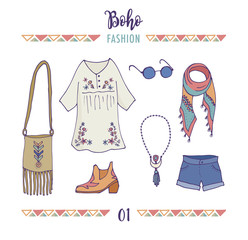 Bohemian fashion style set, boho and gypsy clothes illustration
