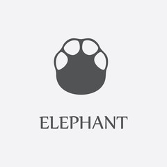 Elephant print black simple icon for web design.