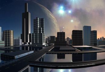 Futuristic Alien City - 3D Computer Artwork
