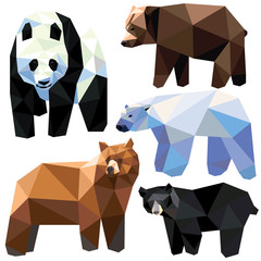 Bear set colorful bears low poly design isolated on white background. Grizzly, Panda, Polar bear, Brown bear, Black bear.