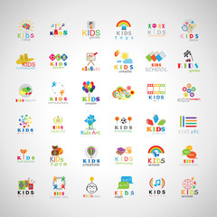 Children Icons Set-Isolated On Gray Background.Vector Illustration,Graphic Design.Kids Brain,Hand Click,Logo Guitar