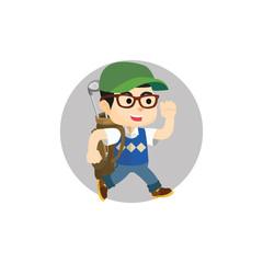 Boy carrying golf bag