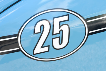 Wall Mural - competition number 25 on a blue race car
