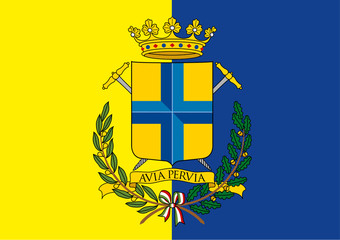 modena city flag and coat of arm, italy