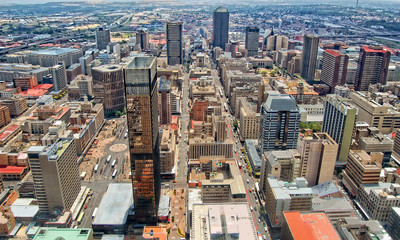 Skyscrapers of Johannesburg./ Johannesburg Central Business District has the most dense collection of skyscrapers in Africa.