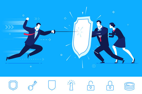 Vector business concept  illustration.  Businessman and businesswoman attacked