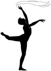 Silhouette of dancer on a white background