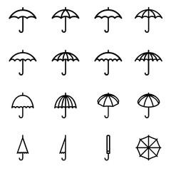 Obraz Set 1 of line icons representing umbrella - fototapety do salonu
