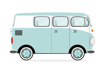 Funny cartoon retro van on a white background. Flat vector.