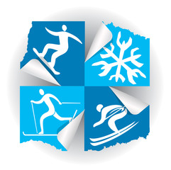 Winter sport icons stickers. Icons of winter sport activities on the stickers. Vector available.
