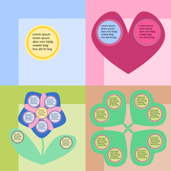 Round infographics fields on colorful background, reminiscent childs drawing.