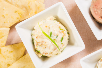 Delicious chicken egg pate with scallions.