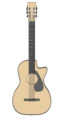 2d cartoon illustration of acoustic guitar
