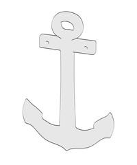 2d cartoon illustration of ship anchor