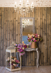 mirror, flowers, decoration, chandelier