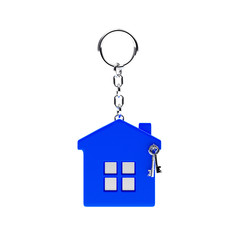 Blue key chain in the form of a house isolated on white background. 3d Rendering.