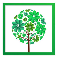 Round tree of green flowers