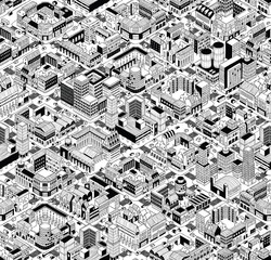 City Urban Blocks Isometric Seamless Pattern - Large