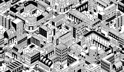 City Urban Blocks Isometric Seamless Pattern - Small
