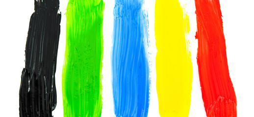 Fototapete - colored strip paint from the brush isolated