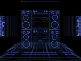 Sound system against black background