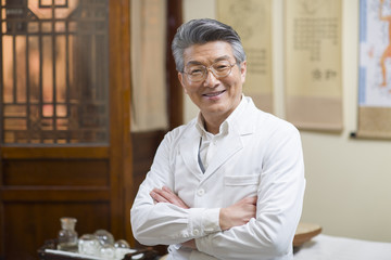Portrait of senior Chinese doctor