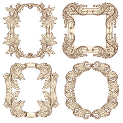 Picture frames in baroque antique style. Vector engraving retro