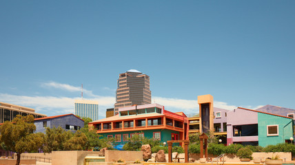 Tucson Skyline Showing the La Placita Village  on a Sunny Day.