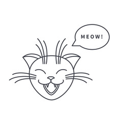 Meowing cat line icon
