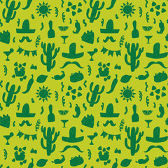 Seamless doodle vector pattern with mexican festive symbols silhouettes: foods, cactuses, sombrero, pepper.