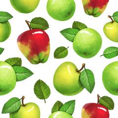Seamless pattern with apple collection on white isolated background. Great for textile, fabric or wrapping paper. In watercolor style.