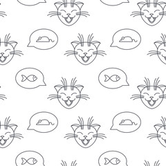 Cats talk about mice and fishes seamless pattern.