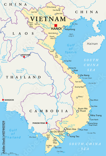 Vietnam political map with capital Hanoi, national borders ...