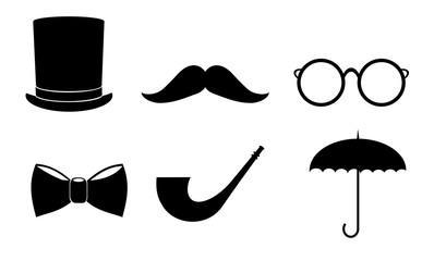 Gentleman icon set. Vector art.