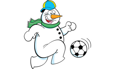 Cartoon illustration of a snowman playing soccer