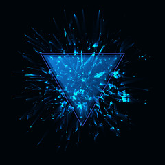 Blue techno style vector explosion.Vector illustration