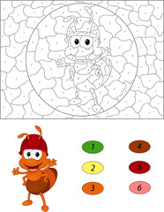 Cartoon ant. Color by number educational game for kids