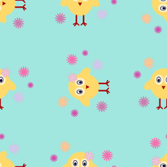 Vector Seamless texture Easter chick Easter background