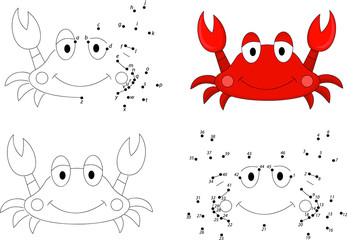 Cartoon crab. Coloring book and dot to dot game for kids
