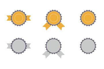 vector set of yellow and grey award symbols