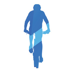 Mountain biker, front view, cycling, abstract blue vector silhou