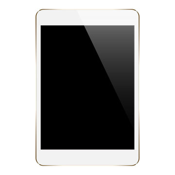 mock up gold tablet isolated on white vector design