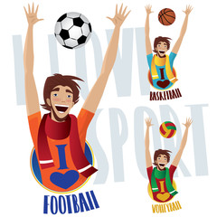 Set of three happy sports fans, football or soccer, basketball and volleyball - Sports lovers concept