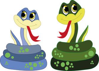 couple cartoon snake