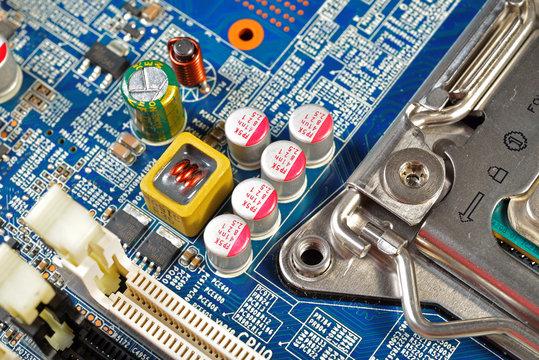 Computer Hardware Motherboard circuits close-up